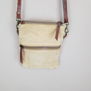 Vintage  Crossbody Fabric with Leather Trim Purse